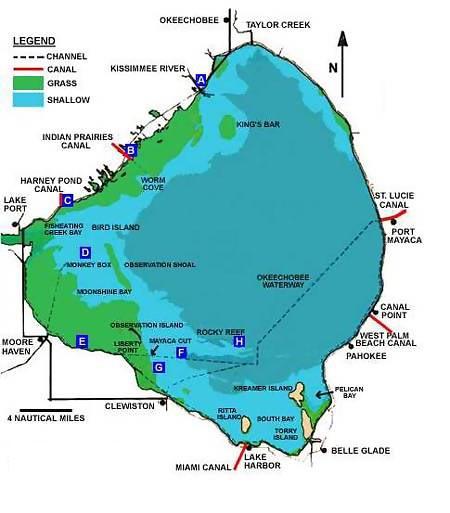 lake map Lake Okeechobee Bass Fishing Guides
